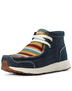Ariat Women's Spitfire Denim Serape Shoes - Moc Toe, Blue, hi-res
