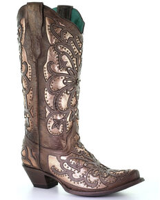 Corral Women's Brown Metallic Inlay Western Boots - Snip Toe, Brown, hi-res