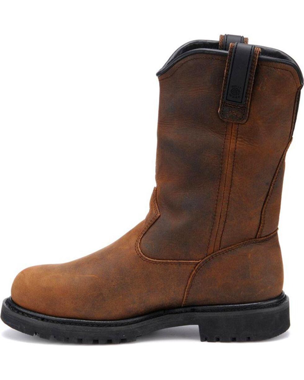 "Carolina Men's Dark Brown Line Builder INT Wellington 12"" Work Boots - Aluminum Toe, Dark Brown, hi-res"