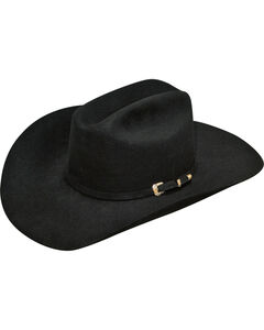 Ariat Men's 100% Fur Double S Cowboy Hat , Black, hi-res
