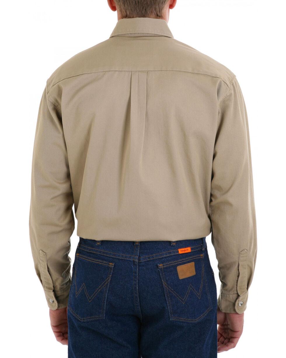 Wrangler Riggs Workwear Khaki Flame Resistant Long Sleeve Shirt, Khaki, hi-res