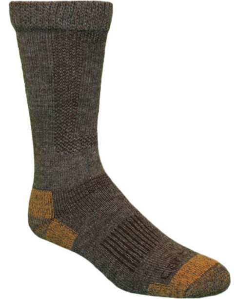 Carhartt Brown Merino Wool Comfort-Stretch Steel Toe Socks, Brown, hi-res