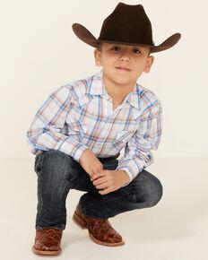 Ely Walker Boys' White Plaid Long Sleeve Snap Western Shirt , White, hi-res