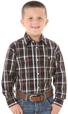 Wrangler Boys' Red & Black Plaid Long Sleeve Shirt, Black, hi-res