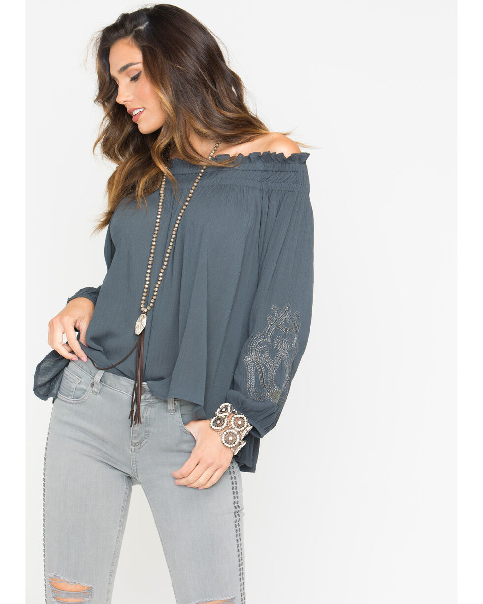 Miss Me Women's Keep Your Cool Off-The-Shoulder Top, Charcoal, hi-res