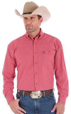 Wrangler Men's Red One Pocket Long Sleeve George Strait Plaid Shirt, Red, hi-res