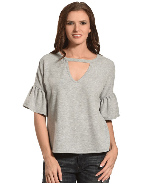 Eyeshadow Women's Knitted Keyhole Flutter Sleeve Top, Grey, hi-res