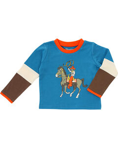 Wrangler Boys' Vintage Cowboy Long Sleeve Tee, Blue, hi-res
