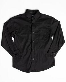 Panhandle Select Boys' Black Solid Stretch Long Sleeve Western Shirt , Black, hi-res