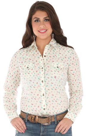 Wrangler Women's Long Sleeve Printed 2 Snap Pocket Shirt, Cream, hi-res