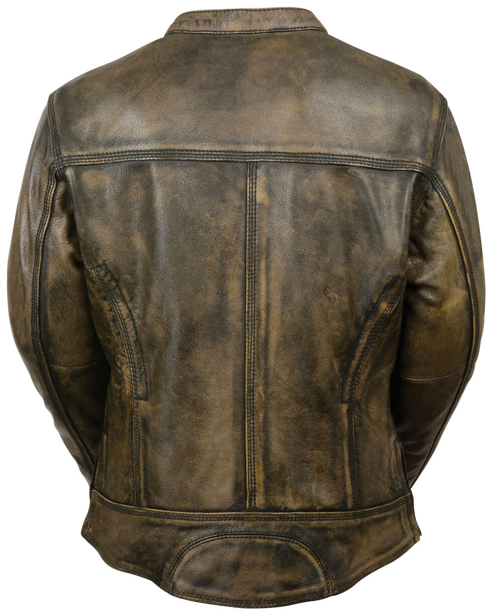 Milwaukee Leather Women's Brown Distressed Vented Scooter Jacket, Black/tan, hi-res