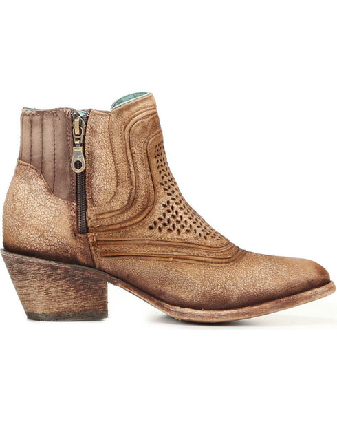 Corral Women's Laser Etched Ankle Boots - Round Toe , Sand, hi-res