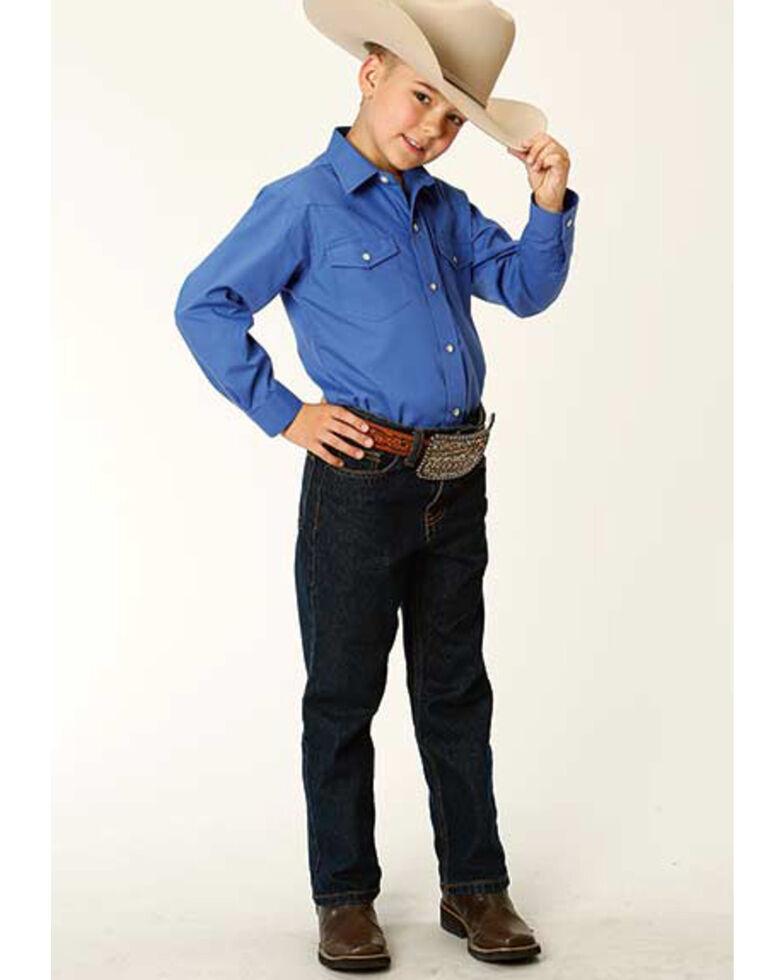 Roper Boys' Classic Solid Blue Long Sleeve Snap Western Shirt , Blue, hi-res