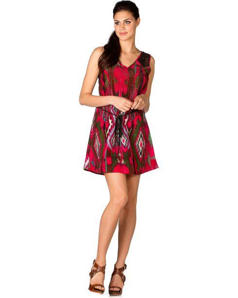 Miss Me Fuchsia Ikat Lace Back Dress, Fuchsia, hi-res