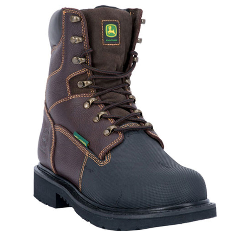 John Deere Men's Internal Met Guard Fire Retardant Work Boots - Steel Toe, Chocolate, hi-res