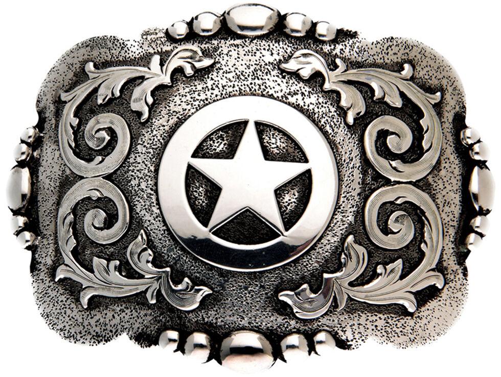 AndWest Cabrillo Vintage Tri-Tone Cross Belt Buckle, Silver, hi-res