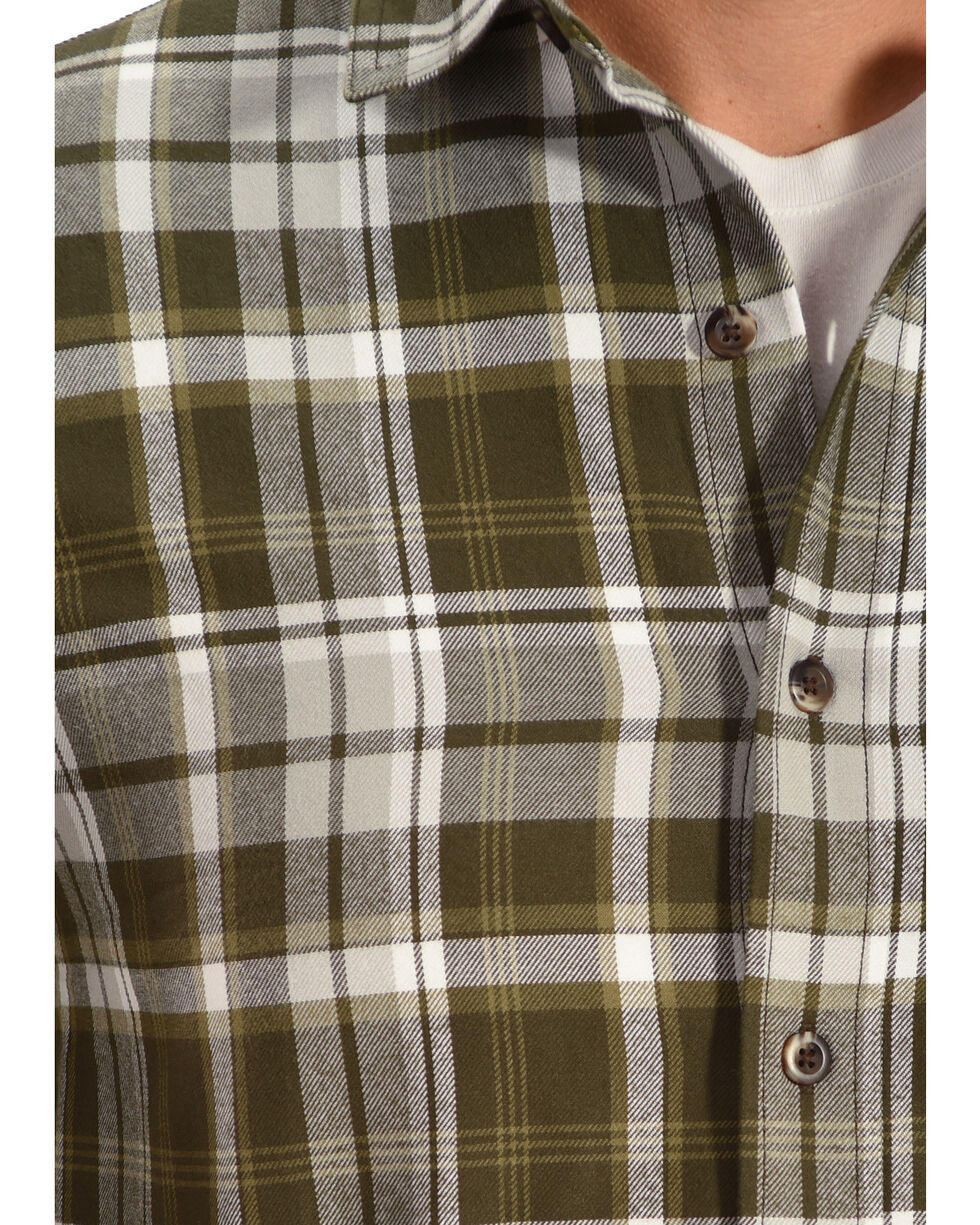 Timberland PRO Men's Navy Plaid Flannel Work Shirt, Olive, hi-res