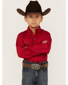 Roper Boy's Long Sleeve Poplin Western Shirt, Red, hi-res