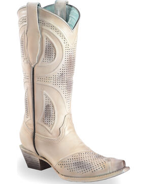 Corral Women's Laser Cut Wedding Boots - Snip Toe, Beige/khaki, hi-res