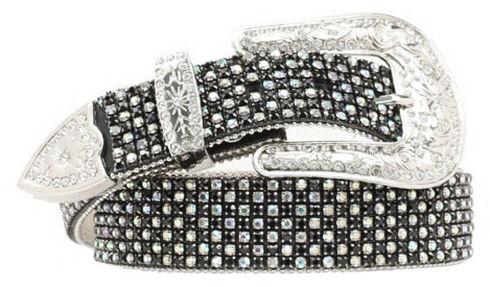 Nocona Rhinestone Embellished Belt, Black, hi-res