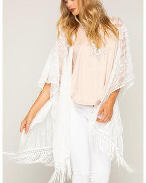 Shyanne Women's Lace Fringe Kimono Scarf, White, hi-res