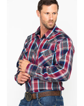 Roper Men's Red Large Plaid Snap Long Sleeve Western Shirt , Red, hi-res