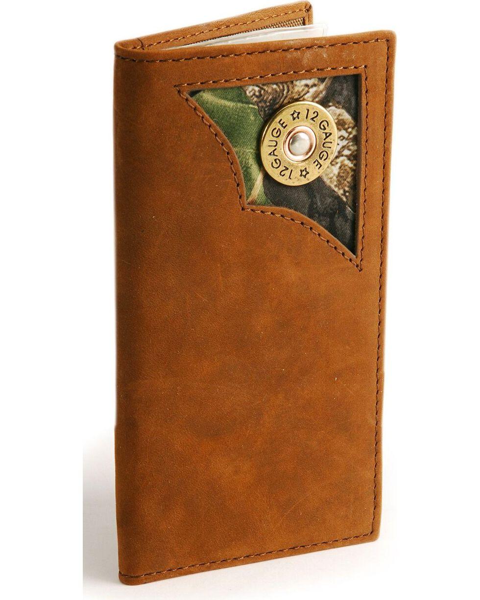 Nocona Boys' 12-Gauge Inlay Leather Wallet, Brown, hi-res