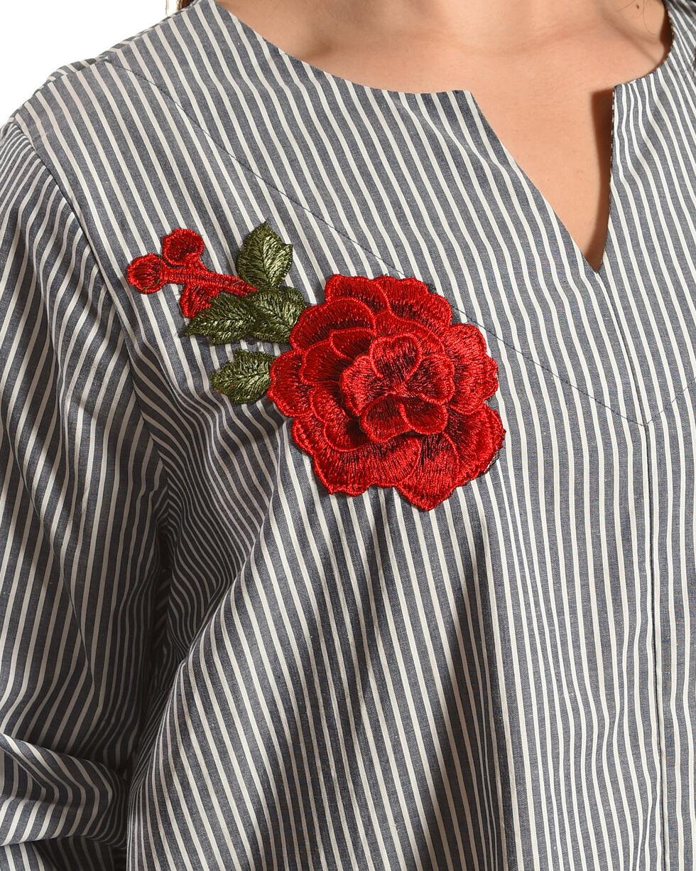 Moa Moa Women's Striped Floral Applique Long Sleeve Shirt - Plus, Grey, hi-res