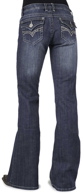 Stetson Women's 816 Classic Fit Flap V-Pocket Bootcut Jeans, Denim, hi-res