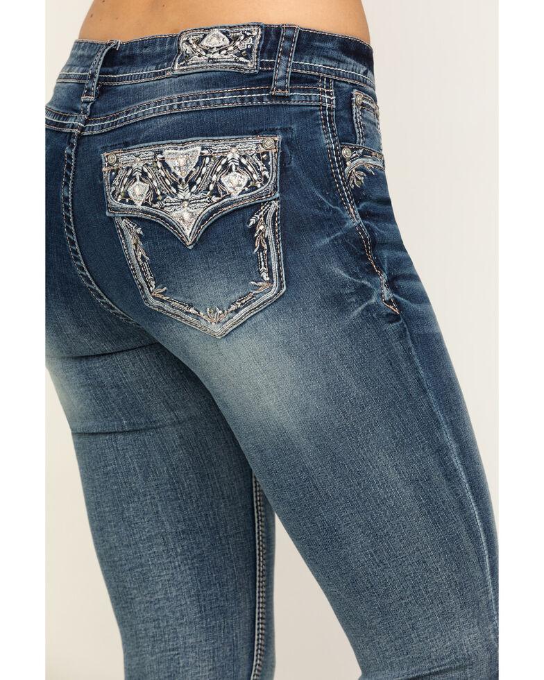 "Grace in LA Women's Medium Flap 34"" Bootcut Jeans , Blue, hi-res"