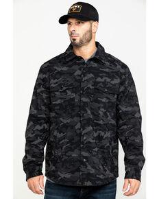 Hawx® Men's Grey Camo Printed Reflective Soft Shell Work Shirt Jacket , Black, hi-res