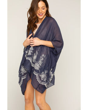Shyanne Women's Navy Embroidered Scarf, Navy, hi-res
