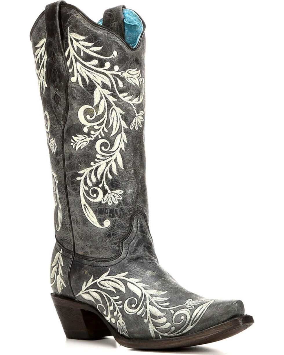 Corral Women's Contrast Side Embroidery Cowgirl Boots - Snip Toe , Black, hi-res