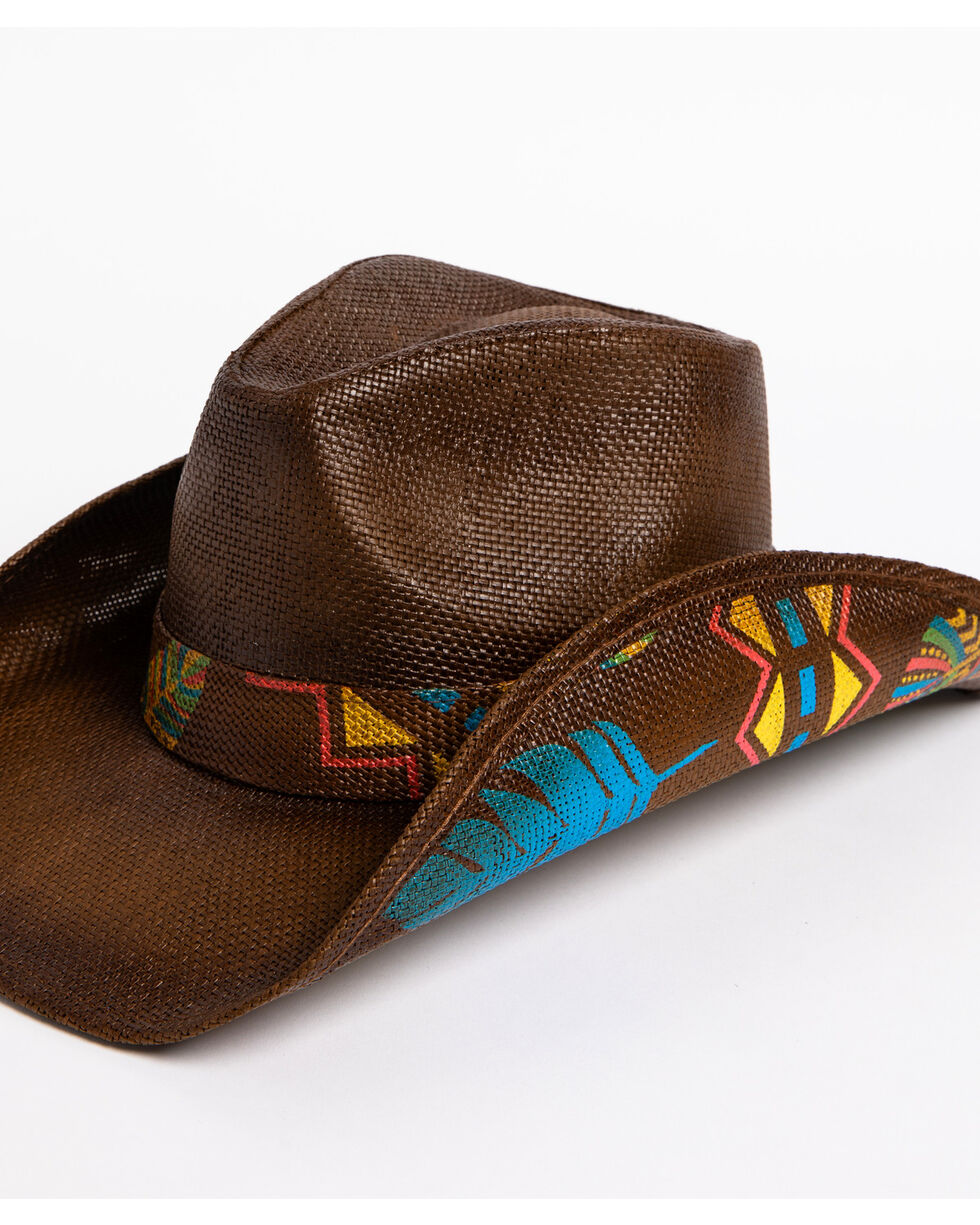 Shyanne Women's Feather Print Hat, Brown, hi-res