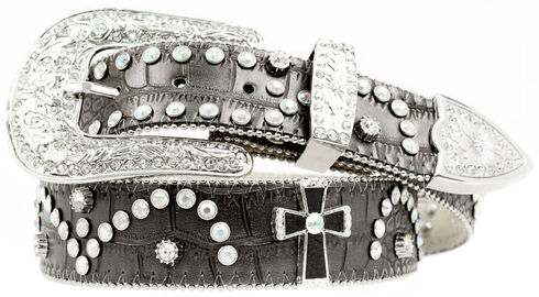 Nocona Cross Concho Studded Leather Belt, Black, hi-res