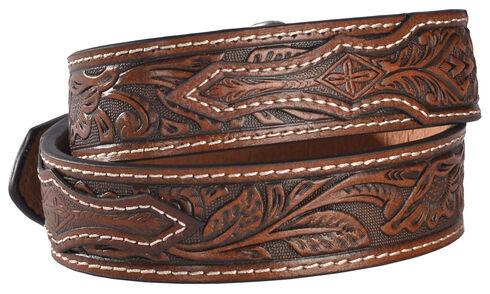 Cody James Boys' Brown Floral Embossed Belt, , hi-res