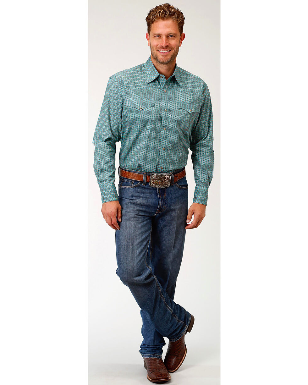 Roper Men's Four Leaf Geo Long Sleeve Western Snap Shirt, Grey, hi-res