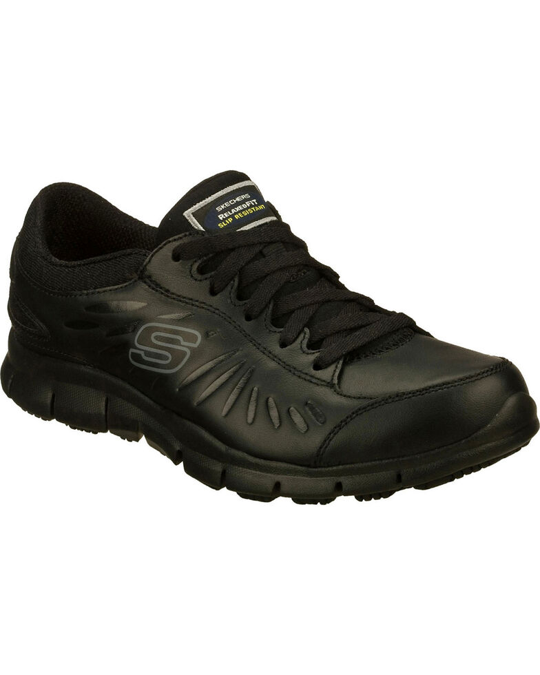 Skechers Women's Black Eldred Slip Resistant Work Shoes , , hi-res