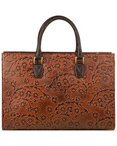 Scully Women's Embossed Floral Handbag, Brown, hi-res