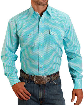 Stetson Men's Turquoise Geo Print Long Sleeve Shirt, Turquoise, hi-res