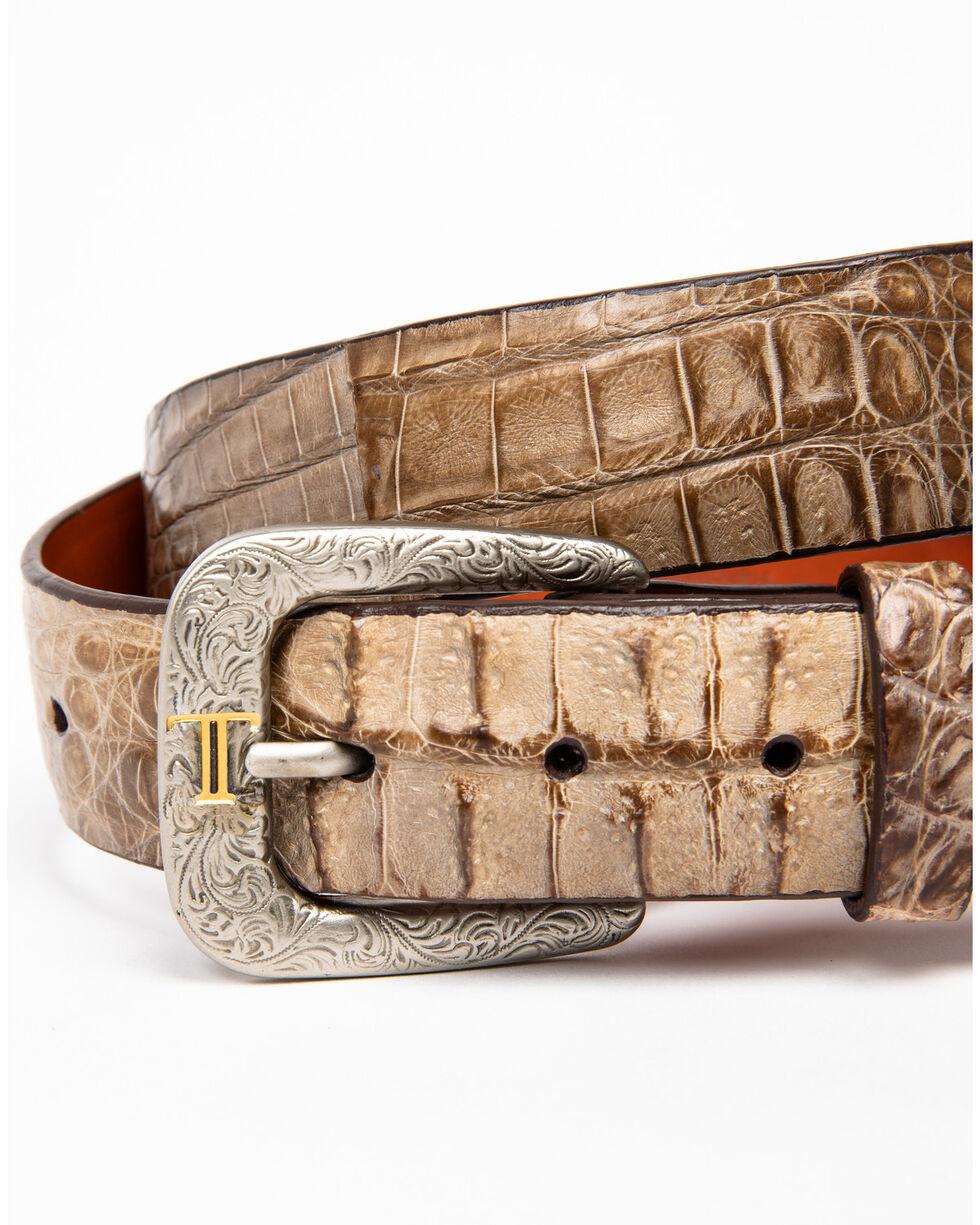 Lucchese Men's Burnished Hornback Caiman Leather Belt, Tan, hi-res
