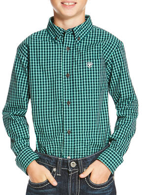 Ariat Boys' Indigo Odem Long Sleeve Shirt , Indigo, hi-res
