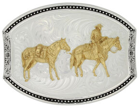 Montana Silversmiths Star Light Park Horse & Rider Belt Buckle, Multi, hi-res