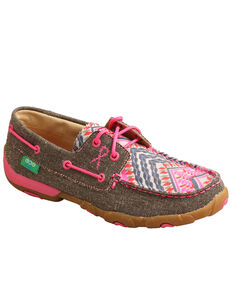 Twisted X Women's Eco Pink Multi Canvas Driving Shoe  - Moc Toe, Multi, hi-res