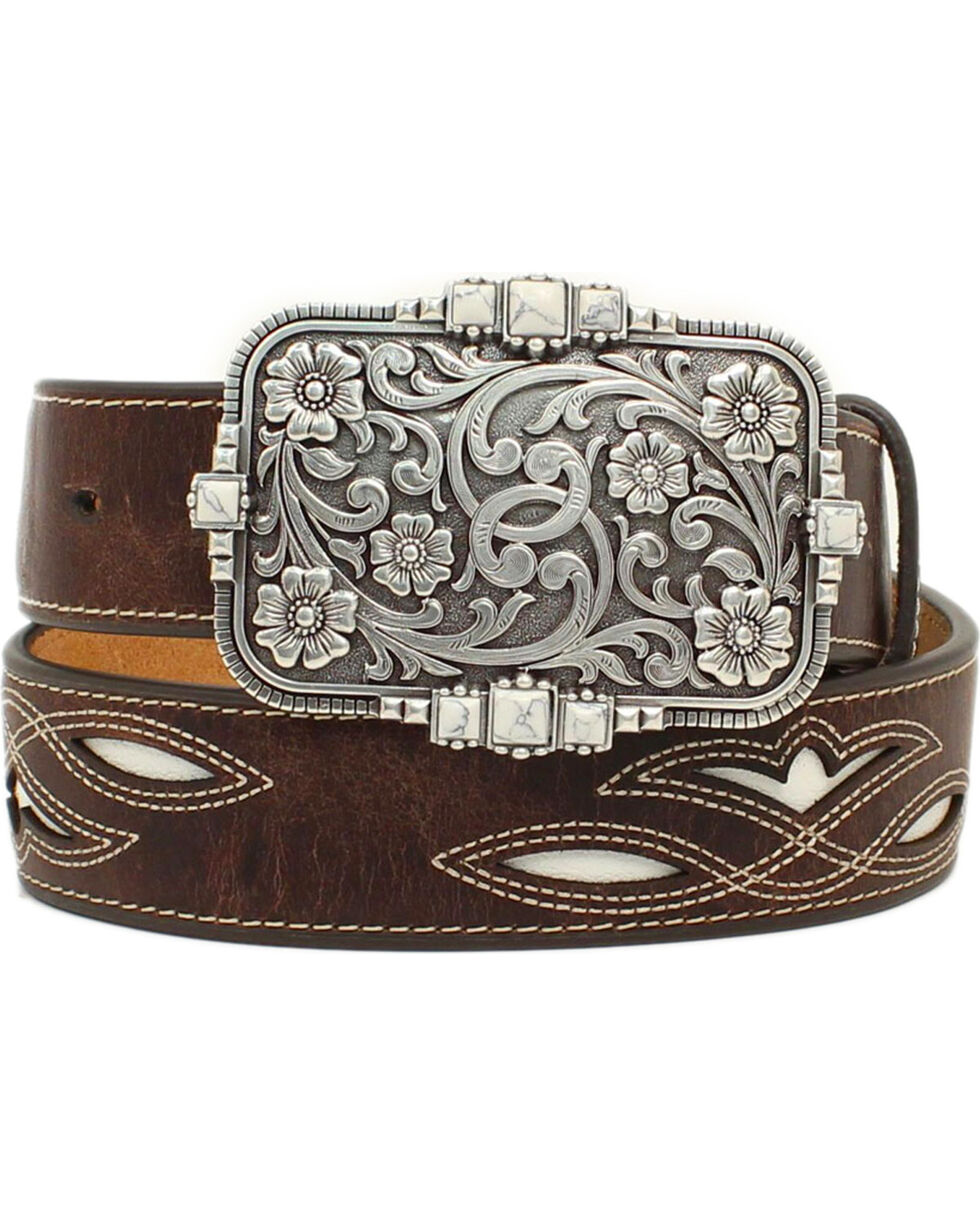 Ariat Women's Cream Underlay Brown Leather Belt, Brown, hi-res