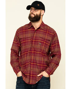 Ariat Men's Cabernet Rebar Flannel Durastretch Plaid Long Sleeve Work Shirt - Tall , Wine, hi-res