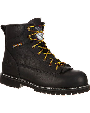 Georgia Men's Waterproof Work Boots - Steel Toe, Black, hi-res