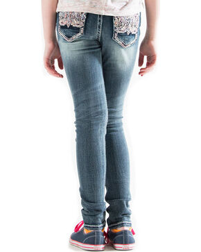 Grace in LA Girls' Indigo (7-16) Embellished Pocket Jeans - Skinny , Indigo, hi-res