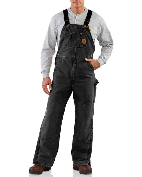 Carhartt Quilt Lined Sandstone Bib Overalls, Black, hi-res