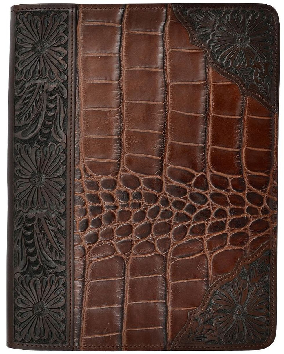 3D Leather Gator Print with Floral Tooling iPad Case, Brown, hi-res